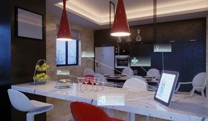 Smart Home kitchen island with devices